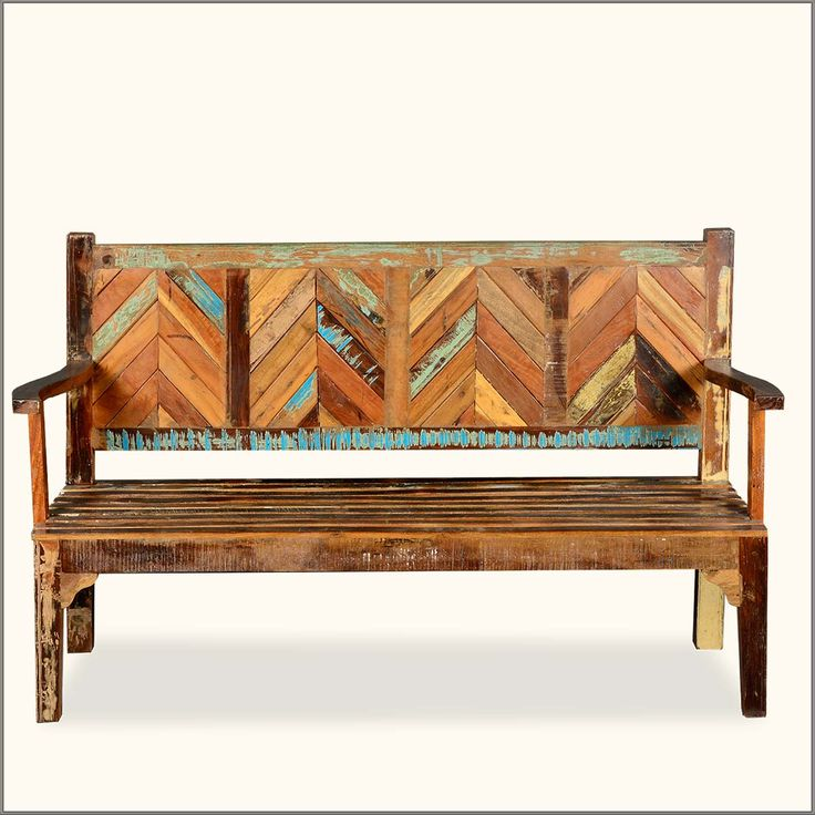 Rustic Reclaimed Wood Parquet High Back Porch Wooden Bench