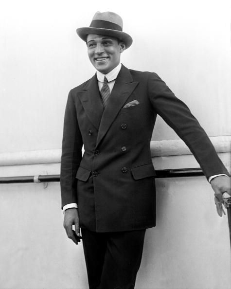 Rudolph Valentino on the SS Leviathan, c. 1920's                                                                                                                                                                                 More