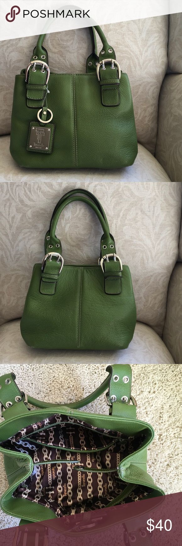Treat Yourself to this great Tignanello Handbag! GUC. This is a very lovely green softened pebble leather bag with pockets in the interior. Matching keychain is still attached to use as a bag charm or key chain. Leather has some scuffs (see photos), but not noticeable when used. Tignanello Bags Satchels