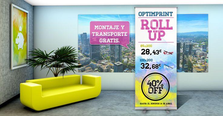¡40% descuento en tu ROLL UP!  Aprovecha nuestra promoción y pide ahora tu roll up desde 28.43€. La calidad de siempre y con 3 años de garantía. ¡Sólo hasta el domingo! www.optimprint.com #imprentaonline #promo #rollup