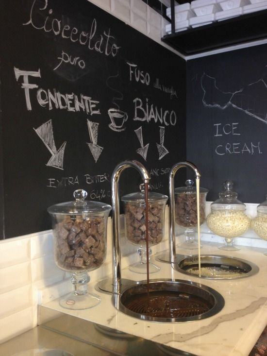 Chocolate fountains to go with your gelato at Come il Latte in Rome. Photo courtesy of http://mrsoaroundtheworld.com/2012/10/09/a-perfect-weekend-in-rome-by-guest-blogger-browsingrome.