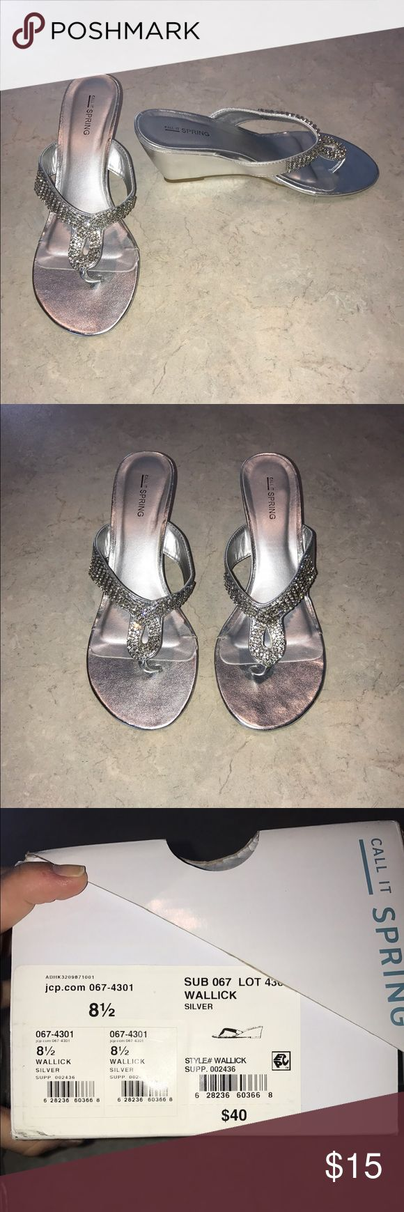 Silver metallic wedge sandal Condition: like new; worn once to a wedding Call It Spring Shoes Wedges