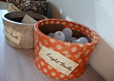 DIY paper mache boxes...with label.  Could seriously work for ANYTHING in the house.  Just perfect.