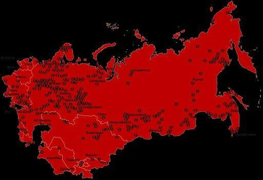Такую страну потеряли.... На карте отмечены концентрационные лагеря системы ГУЛАГ