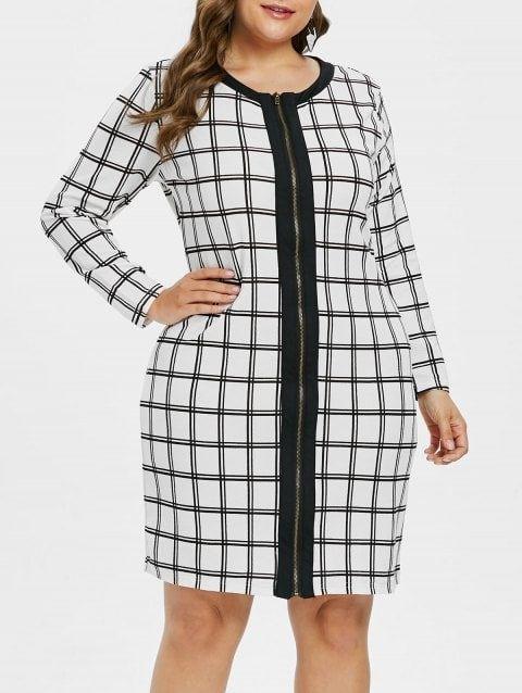 cb36cee41da Plus Size Zip Up Plaid Dress - WHITE 1X