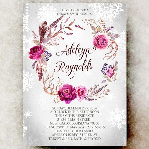 Winter Bridal Shower Invitation Snowflakes   Winter Floral Bridal Shower  Invitation, Watercolor Invitation, Printable
