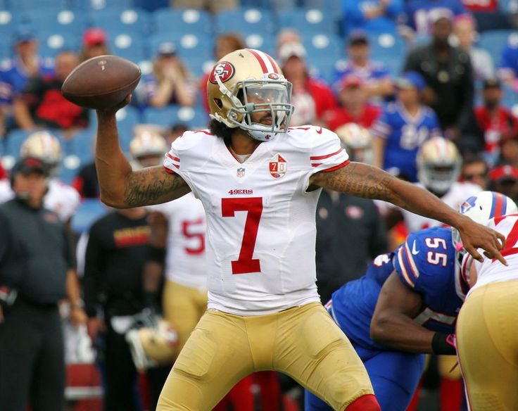 49ers vs. Bills:     October 16, 2016  -  45-16, Bills  -     San Francisco 49ers quarterback Colin Kaepernick (7) passes during the second half of an NFL football game against the Buffalo Bills on Sunday, Oct. 16, 2016, in Orchard Park, N.Y. Buffalo won 45-16. (AP Photo/Jeffrey T. Barnes)