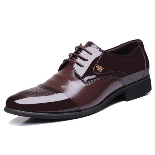 YangXieJiang Mens Patent Leather Tuxedo Dress Shoes Lace up pointed Toe Oxfords 1877 brown 12D(M)US