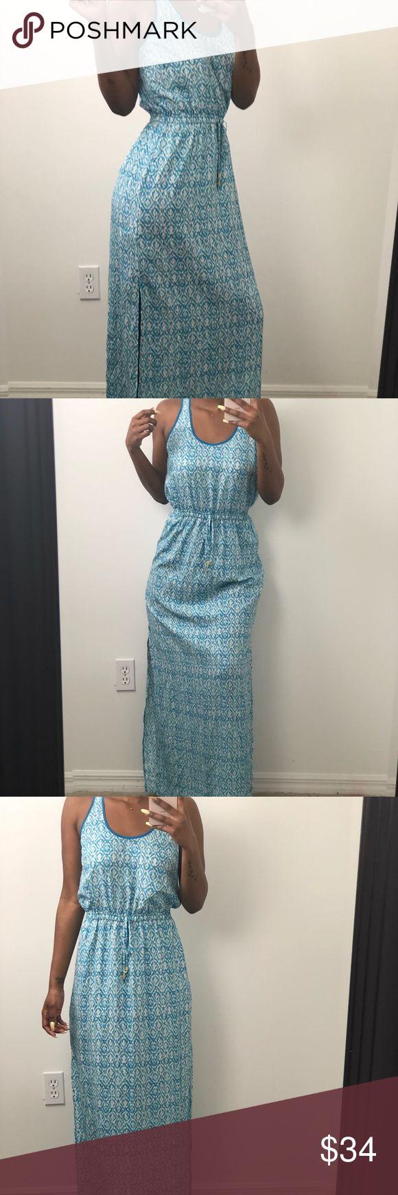 michael kors light blue and white maxi dress size small, runs big, fits more like a medium.  has a slit on both sides Michael Kors Dresses Maxi