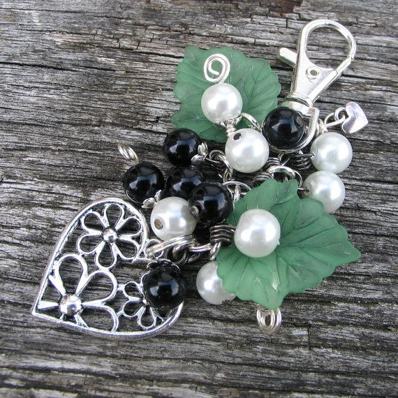 Purse or Handbag Charm Black and White Pearls with by adiencrafts, $10.00