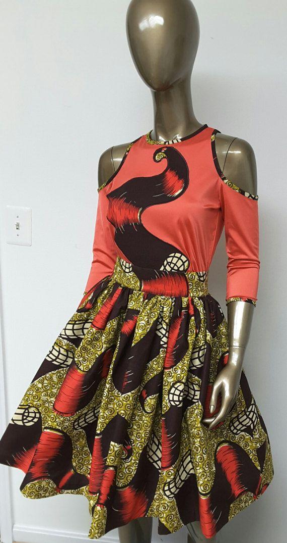 Falda Mini impresión africana. Bolsillos por NanayahStudio en Etsy