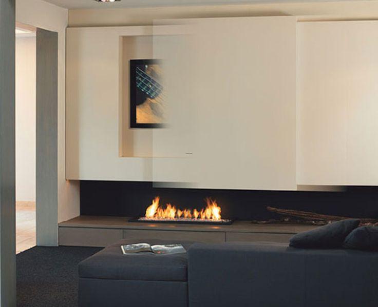 Minimalist Fireplace Design with TV set sliding fireplace tv – Architecture Design