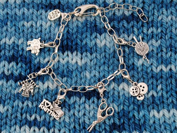 Knit Charm Bracelet with Adjustable Clasp by MichellesAssortment