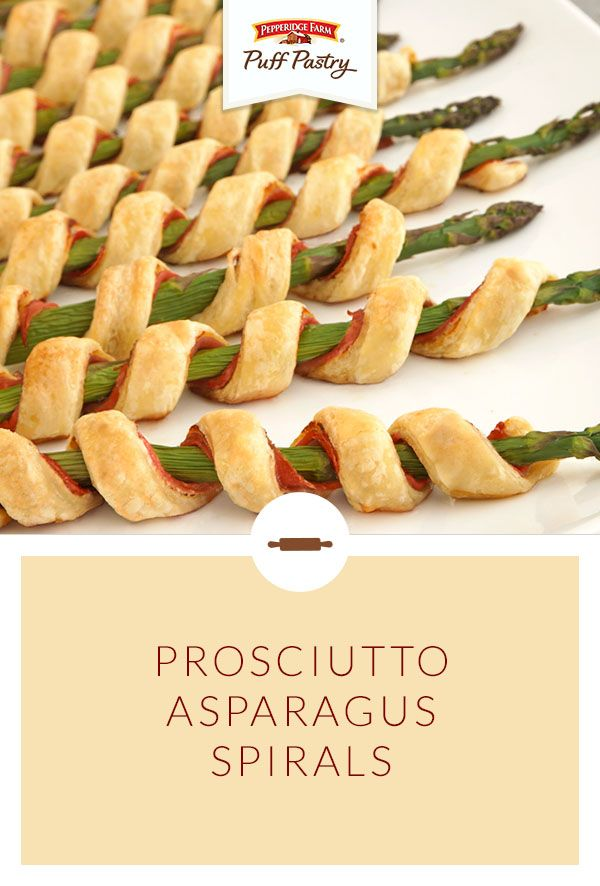 Pepperidge Farm Puff Pastry Prosciutto Asparagus Spirals Recipe. Gathering with friends and family requires serious snacks! This flavorful appetizer is a crowd favorite with spirals of crisp Puff Pastry wrapped around asparagus, prosciutto and a layer of herb cheese. They're easy to prepare, but oh-so-elegant. As scrumptious as they are beautiful, these are a perfect springtime appetizer.