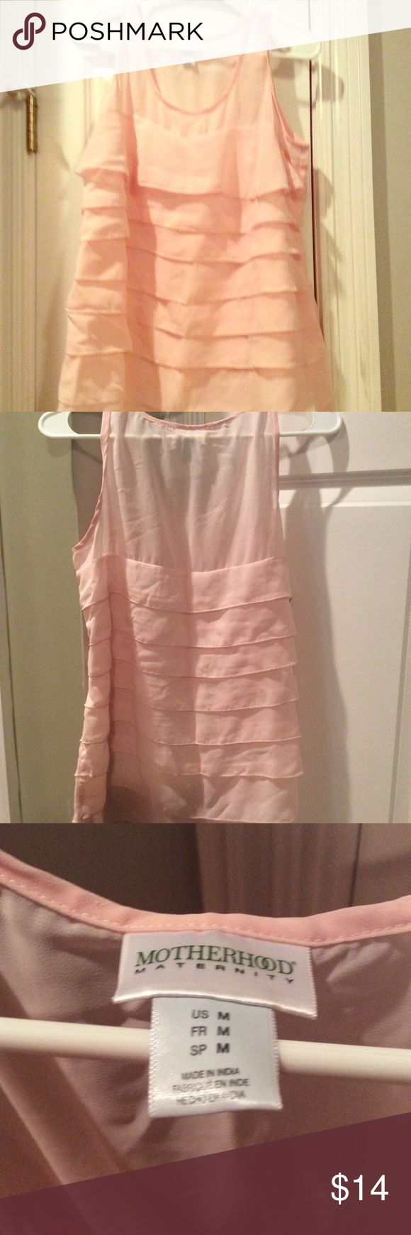 Motherhood Maternity multi layered sleeveless top Beautiful multi layered sleeveless top with sheer fabric on shoulders/upper chest area, great condition, worn for an office job with dress slacks, light baby pink color perfect for spring Motherhood Maternity Tops Blouses