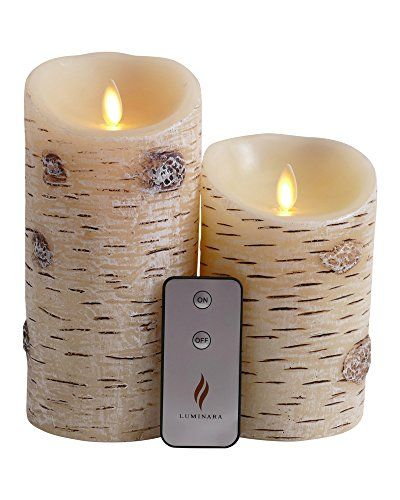 Set of 2 Luminara Birch Bark Flameless Candles: 3.75x5 3.75x7 Birch Luminara Candle Set with Timer, Remote Control and Batteries