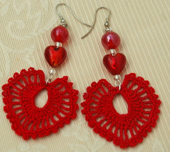 Crochet HEART earrings - Large crochet earrings - Crochet earring jewelry - Red color -. €11.00, via Etsy.