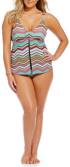 Plus Size Chevron Open Front Tankini - Plus Size Swimsuit