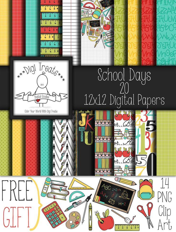 """30 % de réduction ~ jours d'école + cadeau gratuit Clip Art, pack papier scrapbook digital. 12 """"x 12» papier numérique (jpeg), fonds *** Téléchargement instantané *** par DigiTreats sur Etsy https://www.etsy.com/be-fr/listing/455319896/30-de-reduction-jours-decole-cadeau"""