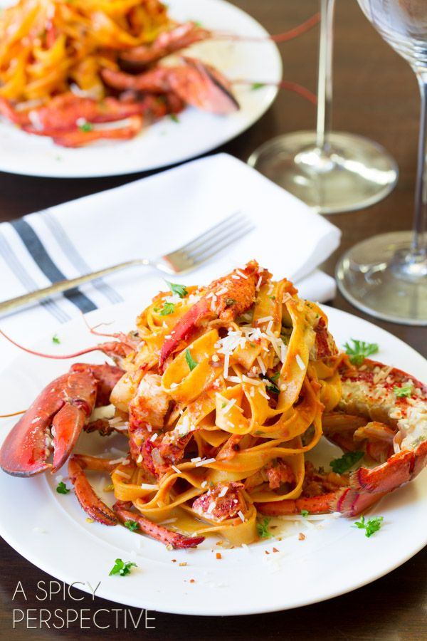 """Lobster Fra Diavolo recipe! This sounds absolutely divine... wonderful ingredients that work so well with each other! (""""Rich succulent lobster served over a bed of pasta bathed in spicy fra diavolo sauce. Sheer perfection."""") #lobster"""