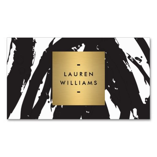 Abstract Black Brushstrokes with Gold Name Logo Business Card  | #mystylerepublic