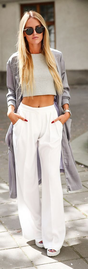Cropped top, white high waist trousers/pants, long grey cardigan