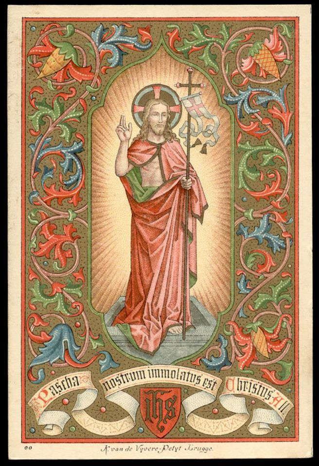 old holy card litho PASCHA NOSTRUM IMMOLATUS EST 19 Th.