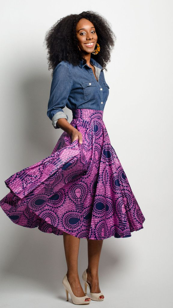 This African print skirt is just the right ladylike length for all of your style needs. The midi length hits mid-calf and the circle skirt style is perfect for all shapes and sizes. > Garden Midi in Aztec Berry by Houston Designer @aleapofstyle (#purple #pattern #print flowing skirt)