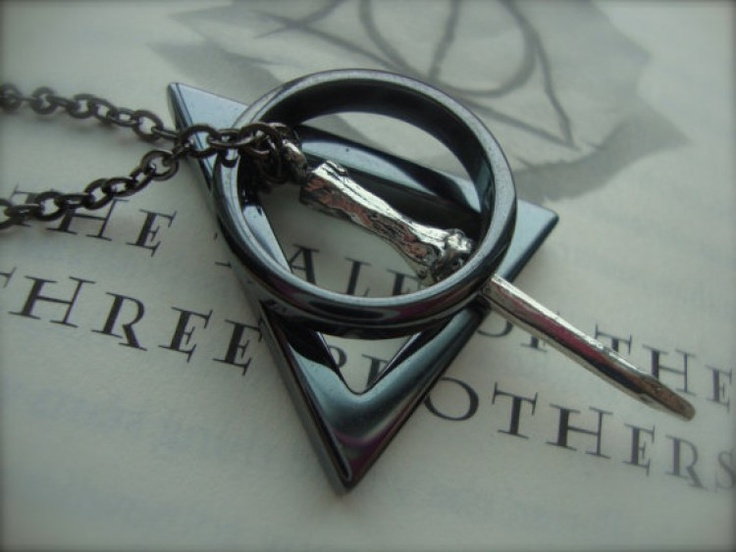 Harry Potter Inspired Deathly Hallows Necklace Hematite Gunmetal