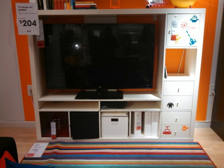 Ikea expedit tv stand 204 tiny living room pinterest for Expedit tv bench