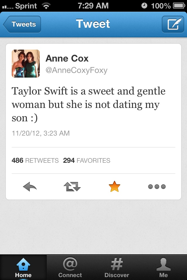 just checked on twitter. that's a fake account. her username is AnneFoxyCoxy not AnneCoxyFoxy. sorry :|