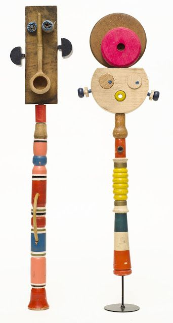 Kickcan & Conkers - wooden sculpture totems