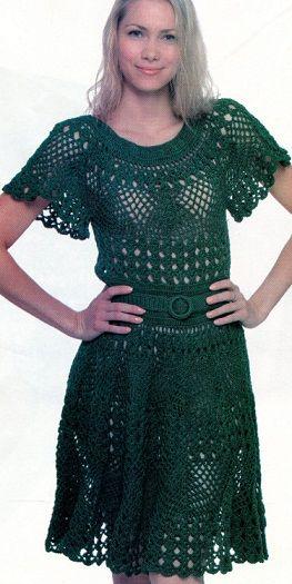 Вязание платья крючкомПлатья Крючком, Hook, Horgolás Crochet, Crochet Dresses, Crochet Blusas Saia Vestidos, Olive Dresses, Crochet Tunics Dresses, Green Dresses