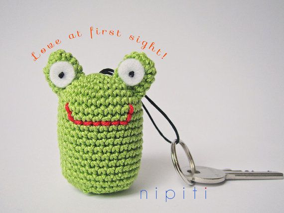 Keychain pendant crochet FROG - Valentines Day gift - New Home gift - Party favor