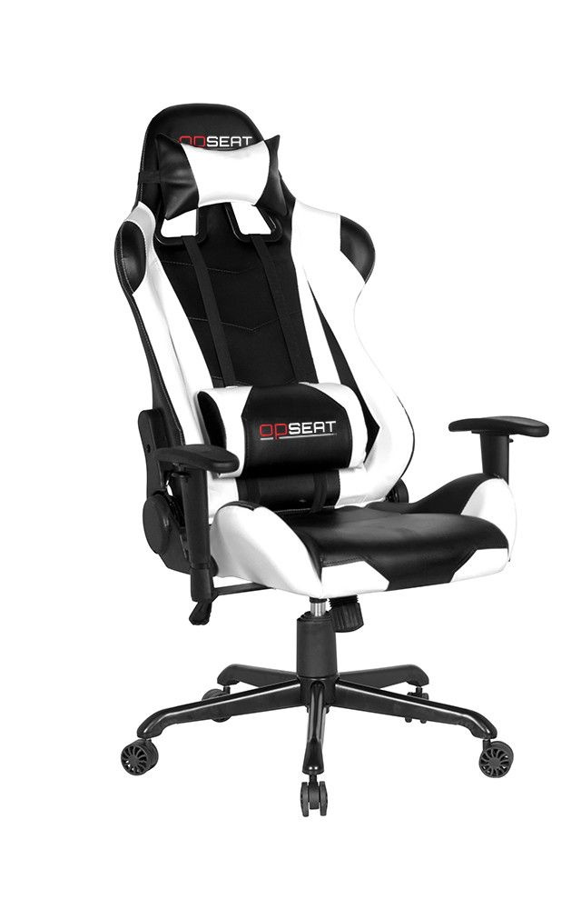 white pc gaming chair by opseat ergonomic computer gaming chairs