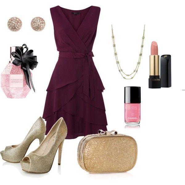 Polyvore. Vestido ciruela y zapatos nude tacón medio, Para boda civil, Plum  dress