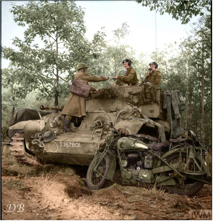 """An 11th Armoured Division """"DR"""" delivers a message to a Cromwell tank commander, Helmond, Netherlands. -Doug (@colour_history) 