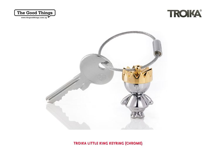 TROIKA LITTLE KING KEYRING (CHROME).   Keyring fit for a King.   Cast metal.   Shiny chrome plated with golden crown.   #tgt #thegoodthings #troika
