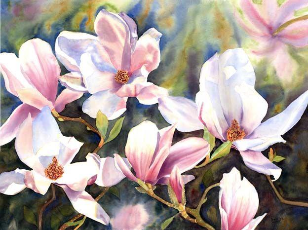 Magnolias - Magnolia painting, flower painting in watercolor on paper, Magnoliengemälde, Blumenbild von Magnolien gemalt in Aquarell, Doris ...