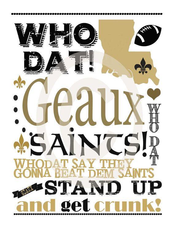 8. x11 New Orleans Saints Who Dat art print by angelturnerdyke, $18.00