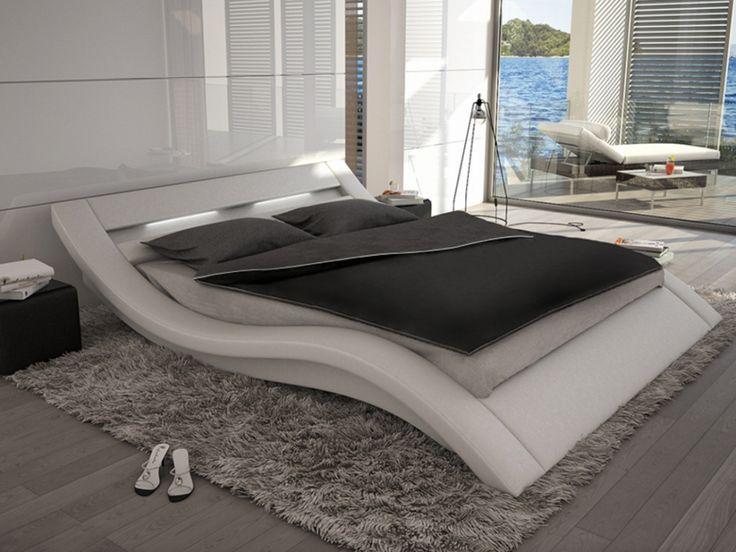 Lit ONDULIS - 160x200cm - Simili blanc avec LEDs