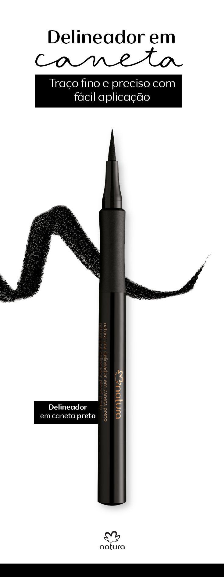 Quer um delineador que permite que você faça um traço fino e preciso? Então o Delineador em caneta preto de Natura Una é o produto certo para você. Teste e arrase!