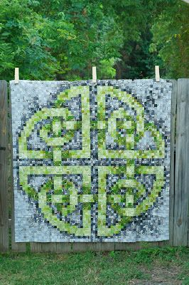 This is the massive Celtic Knot I've been working on for the better part of 6 months. It was made from a free cross stitch design online. Also known as a postage stamp quilt
