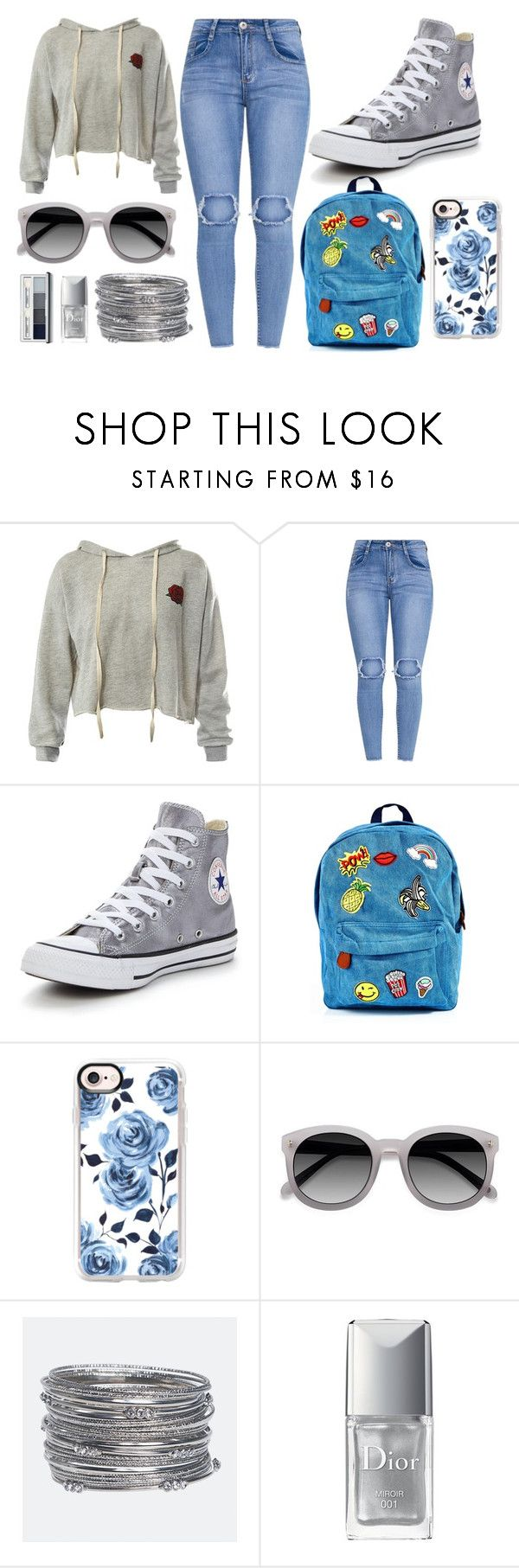 """""""Grey and blue"""" by thisisalle on Polyvore featuring Sans Souci, Converse, 3 AM Imports, Casetify, Avenue, Christian Dior and Clinique"""