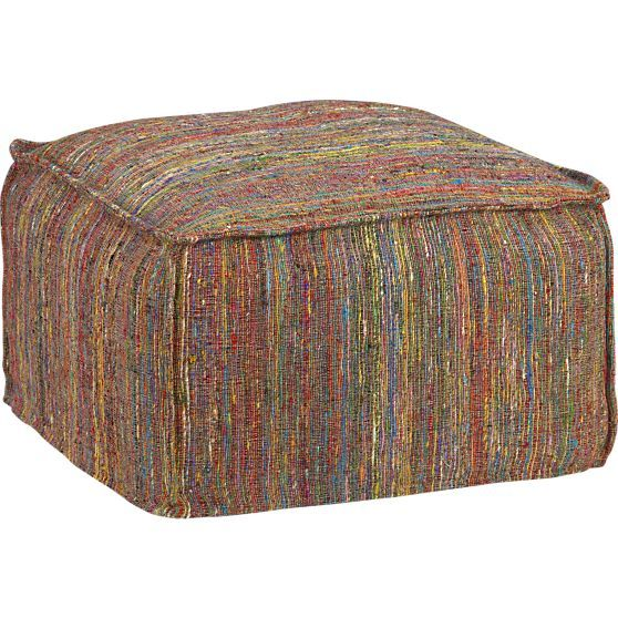 Zuni pouf in ottomans cubes crate and barrel gs for Crate and barrel pouf