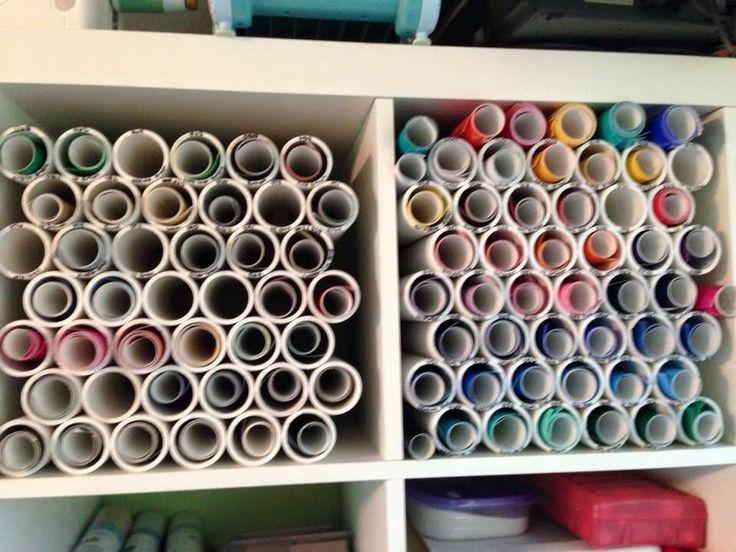 Vinyl storage solution using PVC pipe
