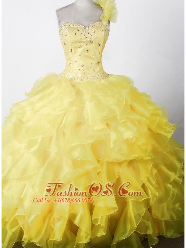 Elegant Beading Ruffles Ball Gown One Shouldder Floor-length Little Girl Pageant Dress- $168.45  www.fashionos.com   ball gown little girl pageant dresses | fitted waist little girl dress | sleeveless pageant dress with one shoulder strap | 2014 spring unique beauty pageants dresses | 2015 cute pageant dresses for teens |