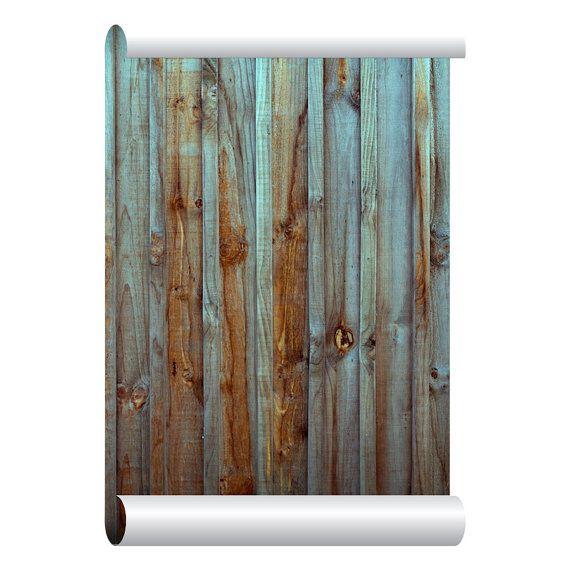 Zelfklevende verwisselbare behang, oude houten hek behang, schil en stok Repositional weefsel behang, aangepaste ontwerp muur muurschildering