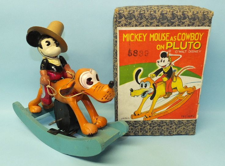1930′s JAPAN MICKEY MOUSE COWBOY ON PLUTO CELLULOID WIND UP TOY & BOX | Toys of Times Past