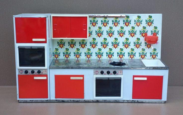 Ancienne cuisine métal FUCHS jouet jeu vintage fleurs orange old toy kitchen